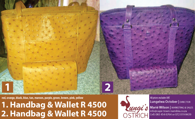 Lungi's ostrich products, ostrich leather, designer ostrich leather, Handbags, Wallets, Belts, Shoes, Jackets, Pants, lungelwa october, marie wilson, oudtshoorn, ostrich, south africa, klein karoo